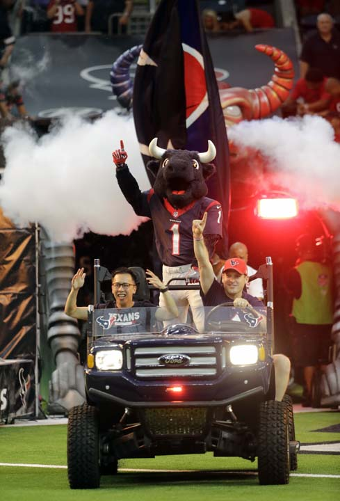 <div class='meta'><div class='origin-logo' data-origin='AP'></div><span class='caption-text' data-credit='David J. Phillip'>The Houston Texans mascot emerges out of the tunnel before an NFL football preseason game against the New England Patriots Saturday, Aug. 19, 2017, in Houston.</span></div>