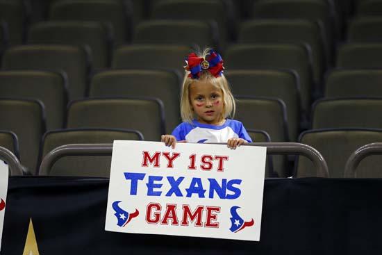 <div class='meta'><div class='origin-logo' data-origin='AP'></div><span class='caption-text' data-credit='AP'>A Houston Texans fan holds a sign before a preseason NFL football game against the New Orleans Saints in New Orleans, Saturday, Aug. 26, 2017. (AP Photo/Butch Dill)</span></div>