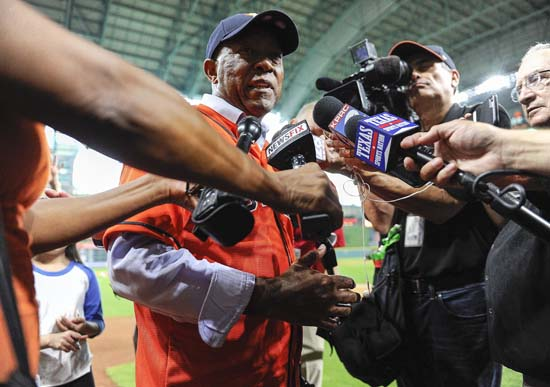 <div class='meta'><div class='origin-logo' data-origin='AP'></div><span class='caption-text' data-credit='Eric Christian Smith'>Houston mayor Sylvester Turner speaks to the media before the first game of a baseball doubleheader between the Houston Astros and the New York Mets.</span></div>