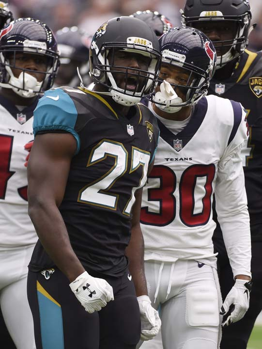 "<div class=""meta image-caption""><div class=""origin-logo origin-image ap""><span>AP</span></div><span class=""caption-text"">Jacksonville Jaguars running back Leonard Fournette (27) reacts during the first half of an NFL football game Sunday, Sept. 10, 2017, in Houston. (AP Photo/Eric Christian Smith) (AP)</span></div>"