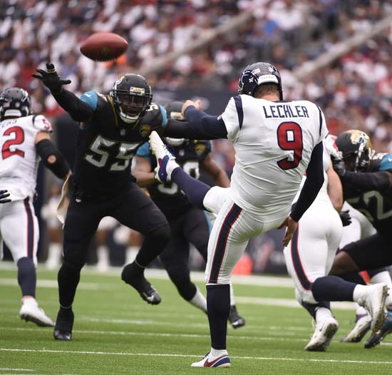 "<div class=""meta image-caption""><div class=""origin-logo origin-image ap""><span>AP</span></div><span class=""caption-text"">Houston Texans punter Shane Lechler (9) punts against the Jacksonville Jaguars during the first half of an NFL football game Sunday, Sept. 10, 2017, in Houston. (Eric Christian Smith)</span></div>"