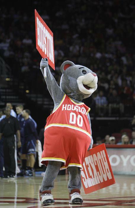 <div class='meta'><div class='origin-logo' data-origin='none'></div><span class='caption-text' data-credit='AP Photo/ Bob Levey'>Houston Rockets mascot Clutch rallies the crowd in the first half of their NBA basketball game in Houston Saturday, Dec. 27, 2008.</span></div>