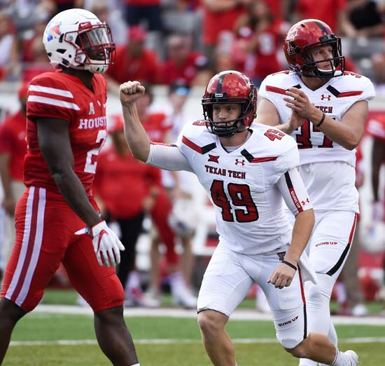 "<div class=""meta image-caption""><div class=""origin-logo origin-image ap""><span>AP</span></div><span class=""caption-text"">Texas Tech place kicker Michael Barden (49) celebrates his 47-yard field goal as Houston safety Khalil Williams, left, watches during the first half. (Eric Christian Smith)</span></div>"