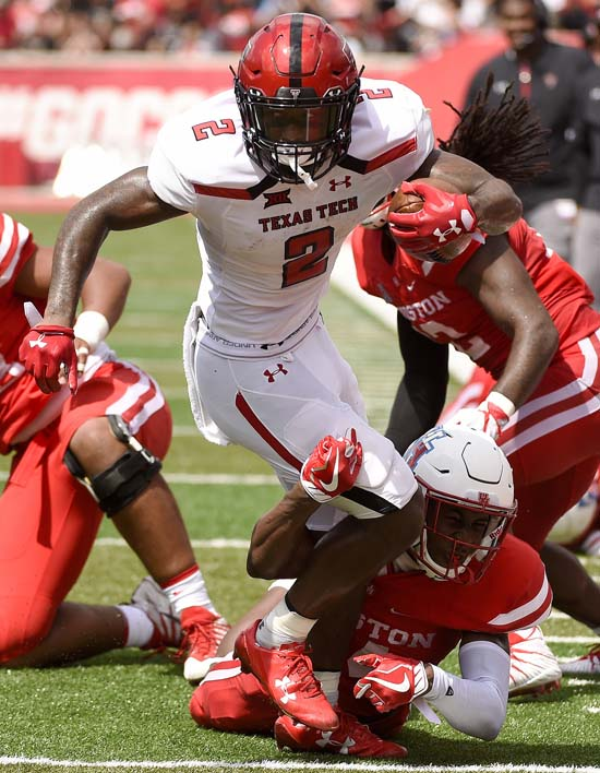 "<div class=""meta image-caption""><div class=""origin-logo origin-image ap""><span>AP</span></div><span class=""caption-text"">Texas Tech wide receiver Keke Coutee (2) is tackled by Houston cornerback Isaiah Johnson during the first half. (Eric Christian Smith)</span></div>"