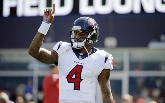 <div class='meta'><div class='origin-logo' data-origin='AP'></div><span class='caption-text' data-credit='Steven Senne'>Houston Texans quarterback Deshaun Watson warms up before an NFL football game against the New England Patriots, Sunday, Sept. 24, 2017, in Foxborough, Mass.</span></div>