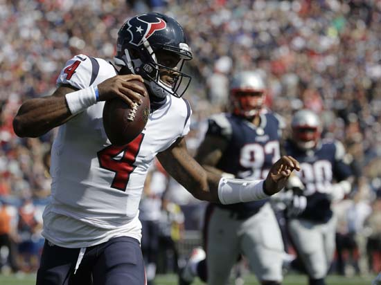 <div class='meta'><div class='origin-logo' data-origin='AP'></div><span class='caption-text' data-credit='Steven Senne'>Houston Texans quarterback Deshaun Watson scrambles against the New England Patriots during the first half of an NFL football game, Sunday, Sept. 24, 2017, in Foxborough, Mass.</span></div>