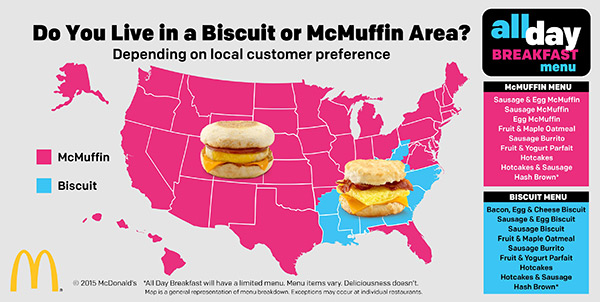 According To The Above Map California Will Be Mostly A Mcin State Though There May Select Restaurants That Offer Biscuits