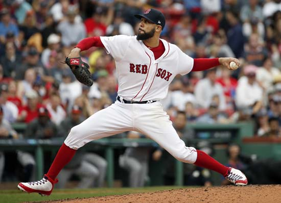 <div class='meta'><div class='origin-logo' data-origin='AP'></div><span class='caption-text' data-credit='Michael Dwyer'>Boston Red Sox relief pitcher David Price delivers against the Houston Astros during the fourth inning in Game 3</span></div>