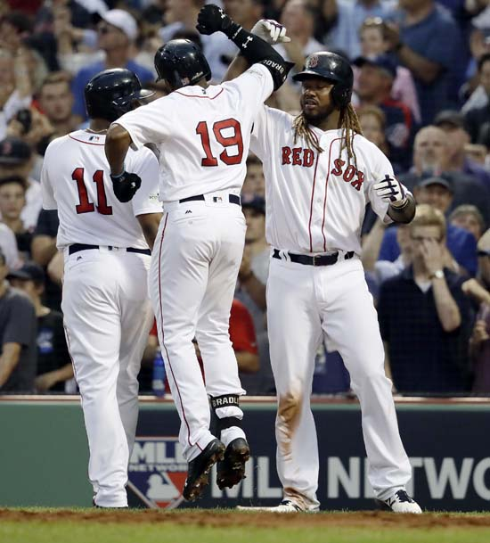 <div class='meta'><div class='origin-logo' data-origin='AP'></div><span class='caption-text' data-credit='Charles Krupa'>Boston Red Sox's Jackie Bradley Jr., (19) celebrates his three-run home run with Rafael Devers, left, and Hanley Ramirez, right during the seventh inning of Game 3.</span></div>