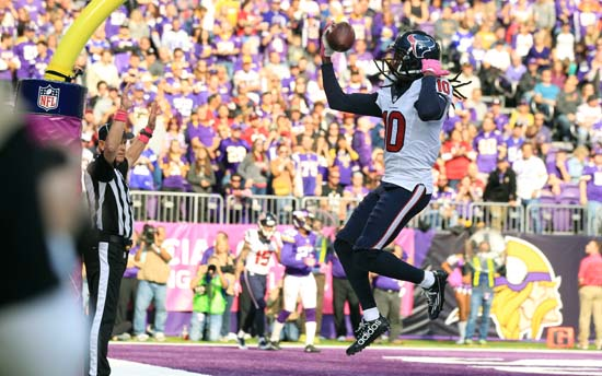 <div class='meta'><div class='origin-logo' data-origin='AP'></div><span class='caption-text' data-credit='Andy Clayton-King'>Houston Texans wide receiver DeAndre Hopkins celebrates after catching a 1-yard touchdown pass during the second half.</span></div>