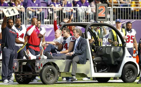 <div class='meta'><div class='origin-logo' data-origin='AP'></div><span class='caption-text' data-credit='Andy Clayton-King'>Houston Texans tight end Ryan Griffin (84) is carted off the field after getting injured during the second half.</span></div>