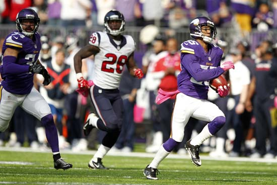 <div class='meta'><div class='origin-logo' data-origin='AP'></div><span class='caption-text' data-credit='Andy Clayton-King'>Minnesota Vikings' Marcus Sherels, right, returns a punt 79-yards for a touchdown during the first half of an NFL football game against the Houston Texans.</span></div>