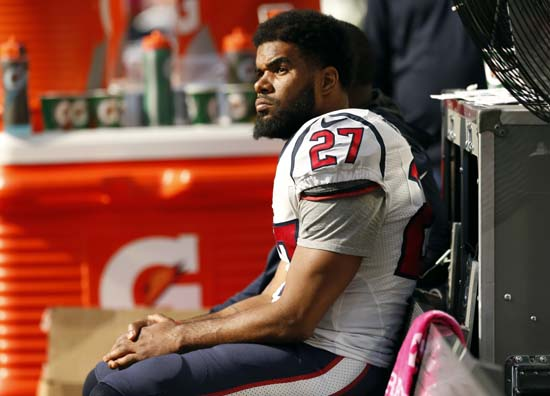 <div class='meta'><div class='origin-logo' data-origin='AP'></div><span class='caption-text' data-credit='Jim Mone'>Houston Texans strong safety Quintin Demps sits on the bench during the second half.</span></div>