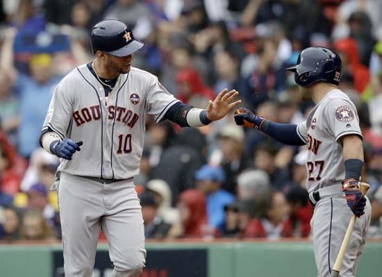 <div class='meta'><div class='origin-logo' data-origin='AP'></div><span class='caption-text' data-credit='AP'>Houston Astros's Jose Altuve, right, congratulates Yuli Gurriel after he scored during the second inning in Game 4. (AP Photo/Charles Krupa)</span></div>
