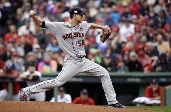 <div class='meta'><div class='origin-logo' data-origin='AP'></div><span class='caption-text' data-credit='AP'>Houston Astros starting pitcher Charlie Morton delivers a pitch against the Boston Red Sox second inning of Game 4. (AP Photo/Charles Krupa)</span></div>