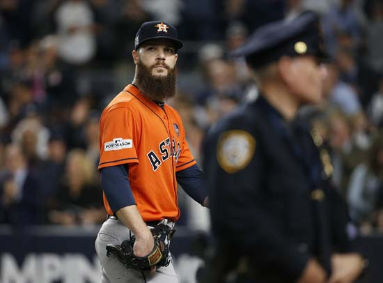 <div class='meta'><div class='origin-logo' data-origin='AP'></div><span class='caption-text' data-credit='Kathy Willens'>Houston Astros starting pitcher Dallas Keuchel looks back after being taken out of the game during the fifth inning of Game 5 of baseball's American League Championship Series.</span></div>