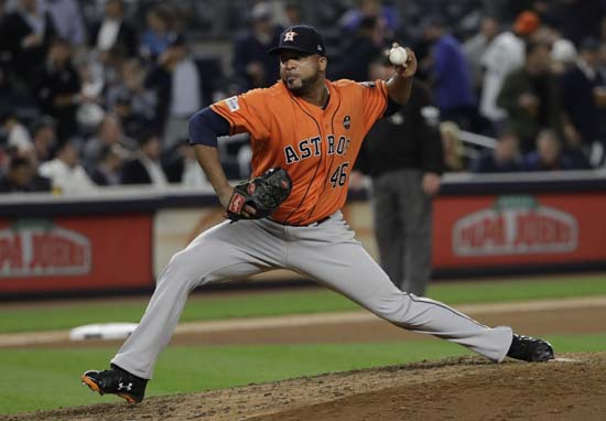 <div class='meta'><div class='origin-logo' data-origin='AP'></div><span class='caption-text' data-credit='David J. Phillip'>Houston Astros relief pitcher Francisco Liriano throws during the eighth inning of Game 5 of baseball's American League Championship Series.</span></div>