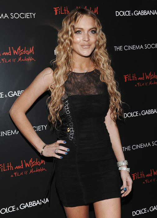 "<div class=""meta image-caption""><div class=""origin-logo origin-image none""><span>none</span></div><span class=""caption-text"">Actress Lindsay Lohan attends a Cinema Society and Dolce Gabbana hosted special screening of 'Filth and Wisdom' on Monday, Oct.13, 2008 in New York.  (AP Photo/ Evan Agostini)</span></div>"