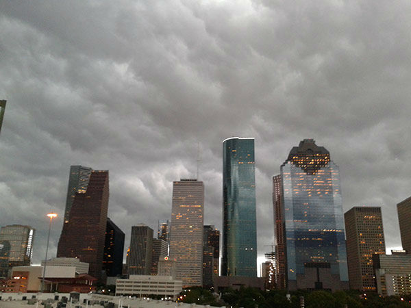 <div class='meta'><div class='origin-logo' data-origin='none'></div><span class='caption-text' data-credit='Photo/iWitness viewer'>A photo of Houston with the storm forming over it.  If you have photos, email them to news@abc13.com or upload them using #abc13eyewitness</span></div>