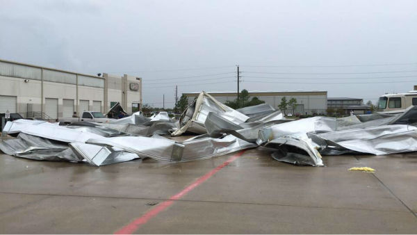 <div class='meta'><div class='origin-logo' data-origin='none'></div><span class='caption-text' data-credit='iWitness/Josh Phuong Nguyen'>Damage left behind at warehouse near Highway 288 at Beltway 8. If you have photos, email them to news@abc13.com or upload them using #abc13eyewitness</span></div>