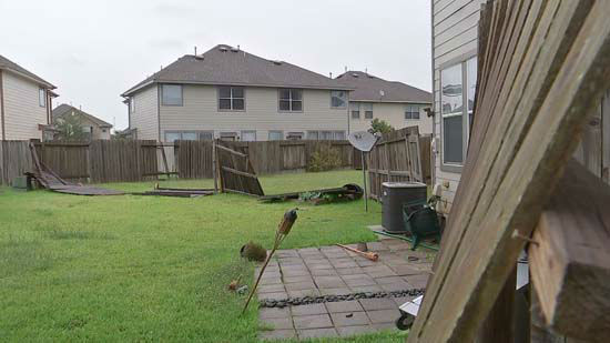 <div class='meta'><div class='origin-logo' data-origin='none'></div><span class='caption-text' data-credit='KTRK Photo'>Storm damage to a backyard following severe storms in the Houston area</span></div>