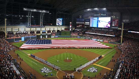 <div class='meta'><div class='origin-logo' data-origin='AP'></div><span class='caption-text' data-credit='AP'>Teams line up for the national anthem before Game 3 of baseball's World Series between the Houston Astros and the Los Angeles Dodgers. (AP Photo/Tim Donnelly)</span></div>