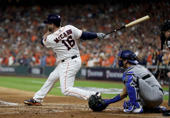 <div class='meta'><div class='origin-logo' data-origin='AP'></div><span class='caption-text' data-credit='AP'>Houston Astros' Brian McCann watches his RBI single against the Los Angeles Dodgers during the second inning of Game 3. (AP Photo/Matt Slocum)</span></div>