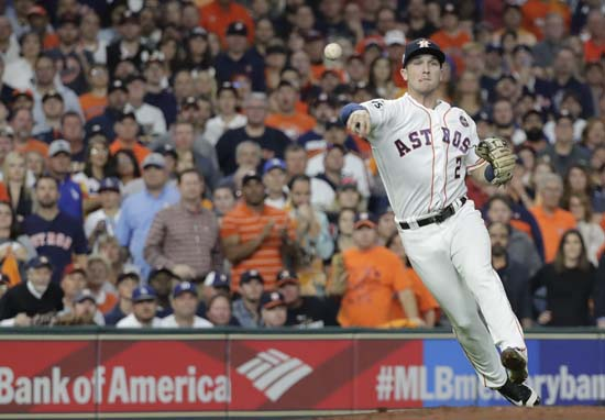 <div class='meta'><div class='origin-logo' data-origin='AP'></div><span class='caption-text' data-credit='AP'>Houston Astros' Alex Bregman throws out Los Angeles Dodgers' Chris Taylor during the second inning of Game 5. (AP Photo/David J. Phillip)</span></div>