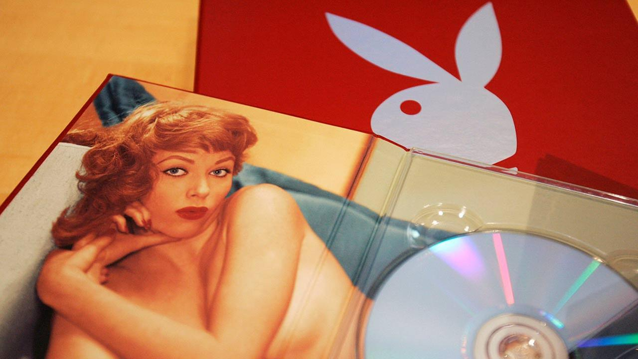A boxed DVD set of Playboy magazines from the 1950s is shown