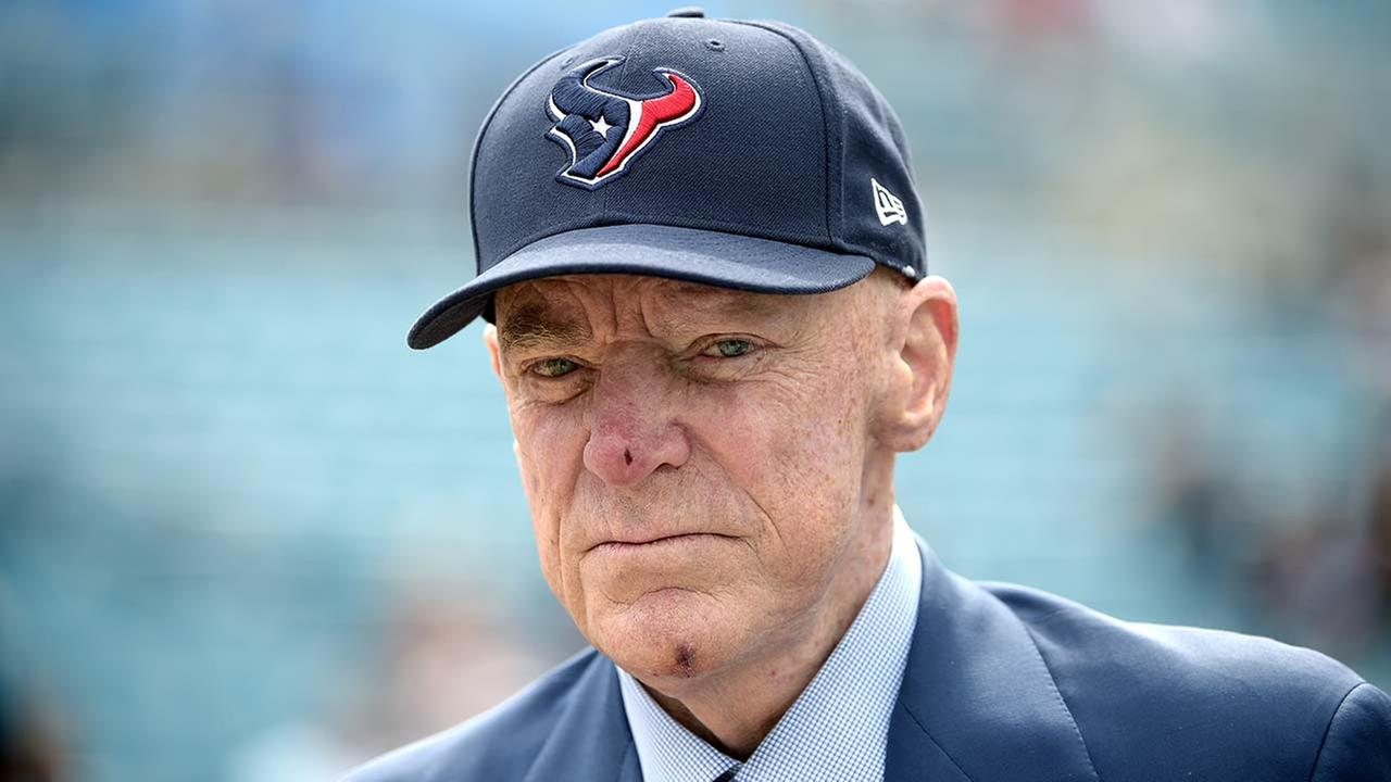 Houston Texans owner Bob McNair watches warmups before an NFL football game against the Jacksonville Jaguars in Jacksonville, Fla., Sunday, Oct. 18, 2015