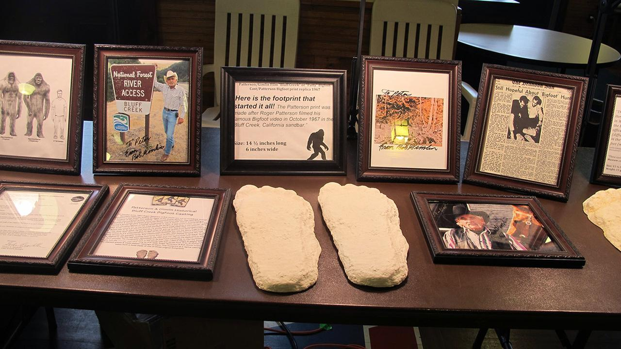 Plaster casts and framed photos line one of the display tables at the 4th annual Chautauqua Lake Bigfoot Expo in Chautauqua, N.Y., Saturday, Oct. 24, 2015.