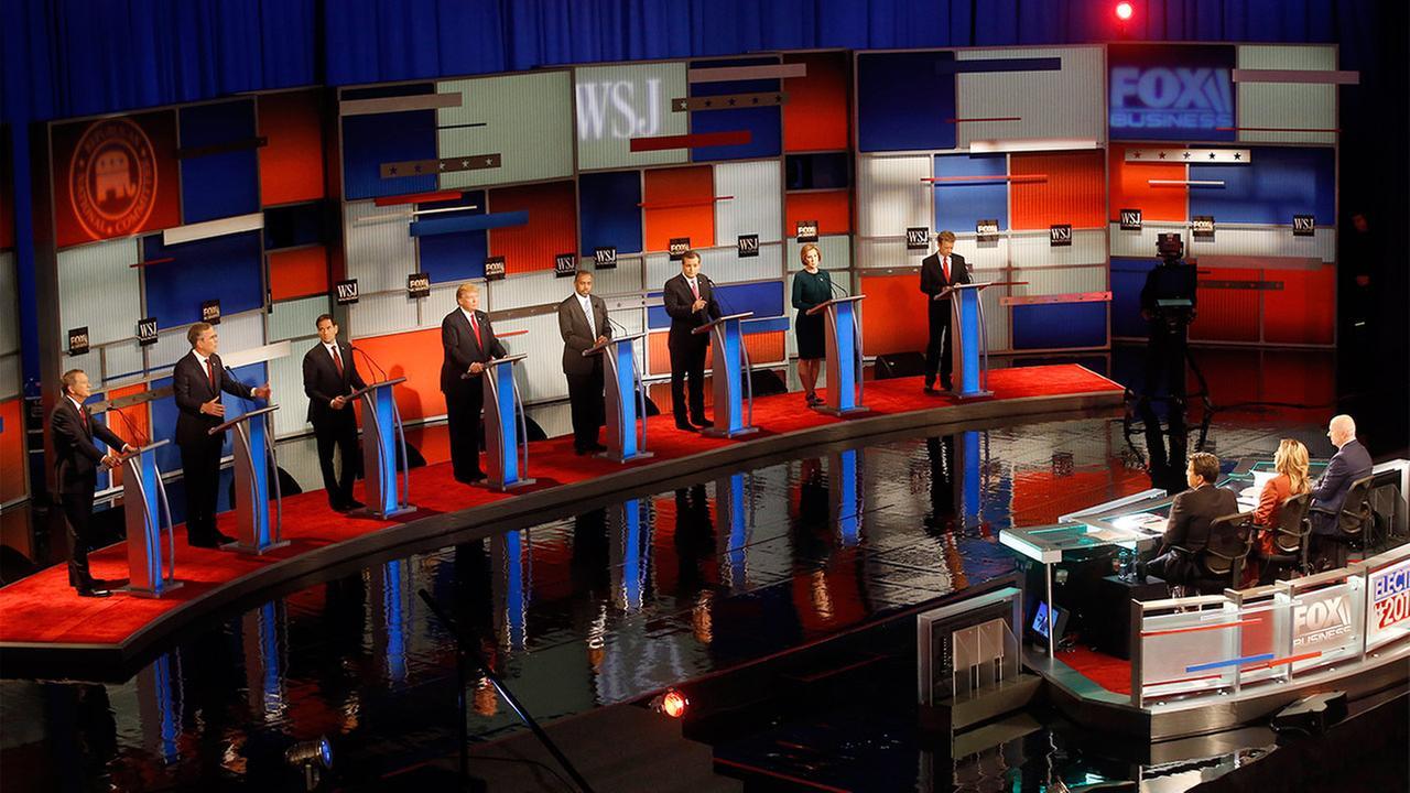 Republican presidential candidates John Kasich, Jeb Bush, Marco Rubio, Donald Trump, Ben Carson, Ted Cruz, Carly Fiorina and Rand Paul appear during Republican presidential debate.