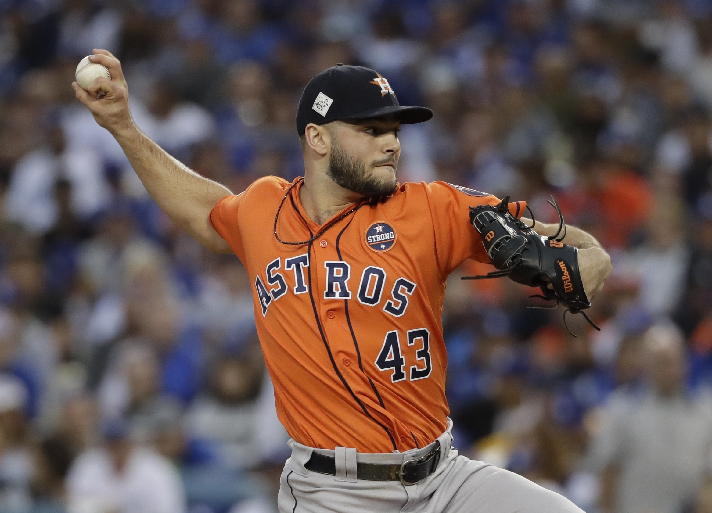 <div class='meta'><div class='origin-logo' data-origin='AP'></div><span class='caption-text' data-credit='AP'>Houston Astros starting pitcher Lance McCullers Jr. throws during the first inning of Game 7. (AP Photo/Matt Slocum)</span></div>