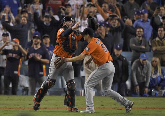 "<div class=""meta image-caption""><div class=""origin-logo origin-image ap""><span>AP</span></div><span class=""caption-text"">Houston Astros catcher Brian McCann and Charlie Morton celebrate after win against the Los Angeles Dodgers in Game 7. (AP Photo/Mark J. Terrill) (AP)</span></div>"