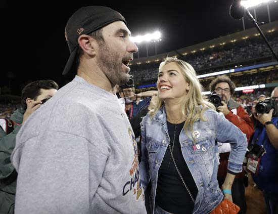 <div class='meta'><div class='origin-logo' data-origin='AP'></div><span class='caption-text' data-credit='AP'>Houston Astros' Justin Verlander celebrates with Kate Upton after Game 7 of baseball's World Series against the Los Angeles Dodgers. (AP Photo/Matt Slocum)</span></div>
