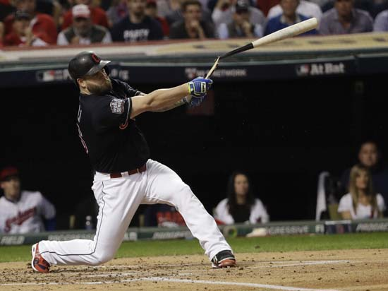 <div class='meta'><div class='origin-logo' data-origin='AP'></div><span class='caption-text' data-credit='AP'>Cleveland Indians' Mike Napoli breaks his bat as he flies out during the first inning of Game 7. (AP Photo/David J. Phillip)</span></div>