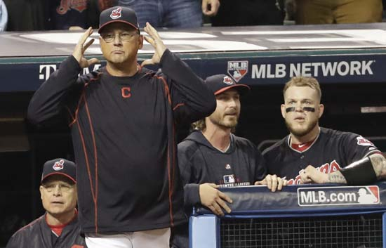 <div class='meta'><div class='origin-logo' data-origin='AP'></div><span class='caption-text' data-credit='AP'>Cleveland Indians manager Terry Francona requests an instant replay during the third inning of Game 7 of the Major League Baseball. (AP Photo/David J. Phillip)</span></div>