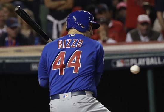 <div class='meta'><div class='origin-logo' data-origin='AP'></div><span class='caption-text' data-credit='AP'>Chicago Cubs' Anthony Rizzo is hit by a pitch during the fourth inning of Game 7 of the Major League Baseball World Series. (AP Photo/David J. Phillip)</span></div>