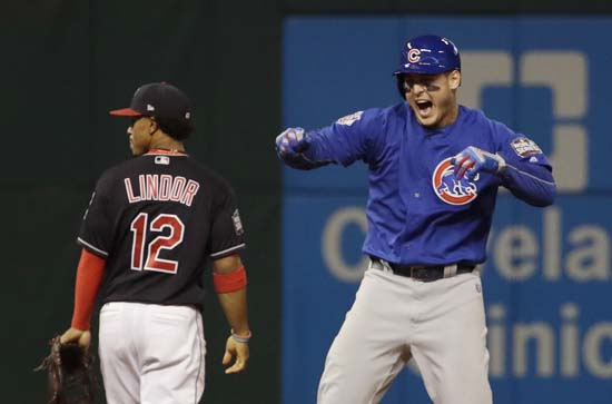 <div class='meta'><div class='origin-logo' data-origin='AP'></div><span class='caption-text' data-credit='AP'>Chicago Cubs' Anthony Rizzo reacts after teammate Kris Bryant scored on Rizzo's hit during the fifth inning of Game 7. (AP Photo/David J. Phillip)</span></div>