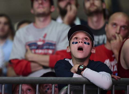<div class='meta'><div class='origin-logo' data-origin='AP'></div><span class='caption-text' data-credit='AP'>Cleveland Indians fan Caleb Cork reacts during a watch party for Game 7 of the baseball World Series. (AP Photo/David Dermer)</span></div>