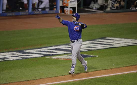 <div class='meta'><div class='origin-logo' data-origin='AP'></div><span class='caption-text' data-credit='AP'>Chicago Cubs' David Ross celebrates his home run during the sixth inning of Game 7 of the Major League Baseball World Series. (AP Photo/Gene J. Puskar)</span></div>