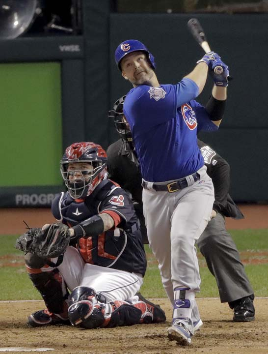 <div class='meta'><div class='origin-logo' data-origin='AP'></div><span class='caption-text' data-credit='AP'>Chicago Cubs' David Ross watches his home run against the Cleveland Indians during the sixth inning of Game 7 of the Major League Baseball World Series. (AP Photo/Charlie Riedel)</span></div>