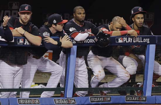 <div class='meta'><div class='origin-logo' data-origin='AP'></div><span class='caption-text' data-credit='AP'>The Cleveland Indians bench watches during the sixth inning of Game 7 of the Major League Baseball World Series. (AP Photo/Gene J. Puskar)</span></div>
