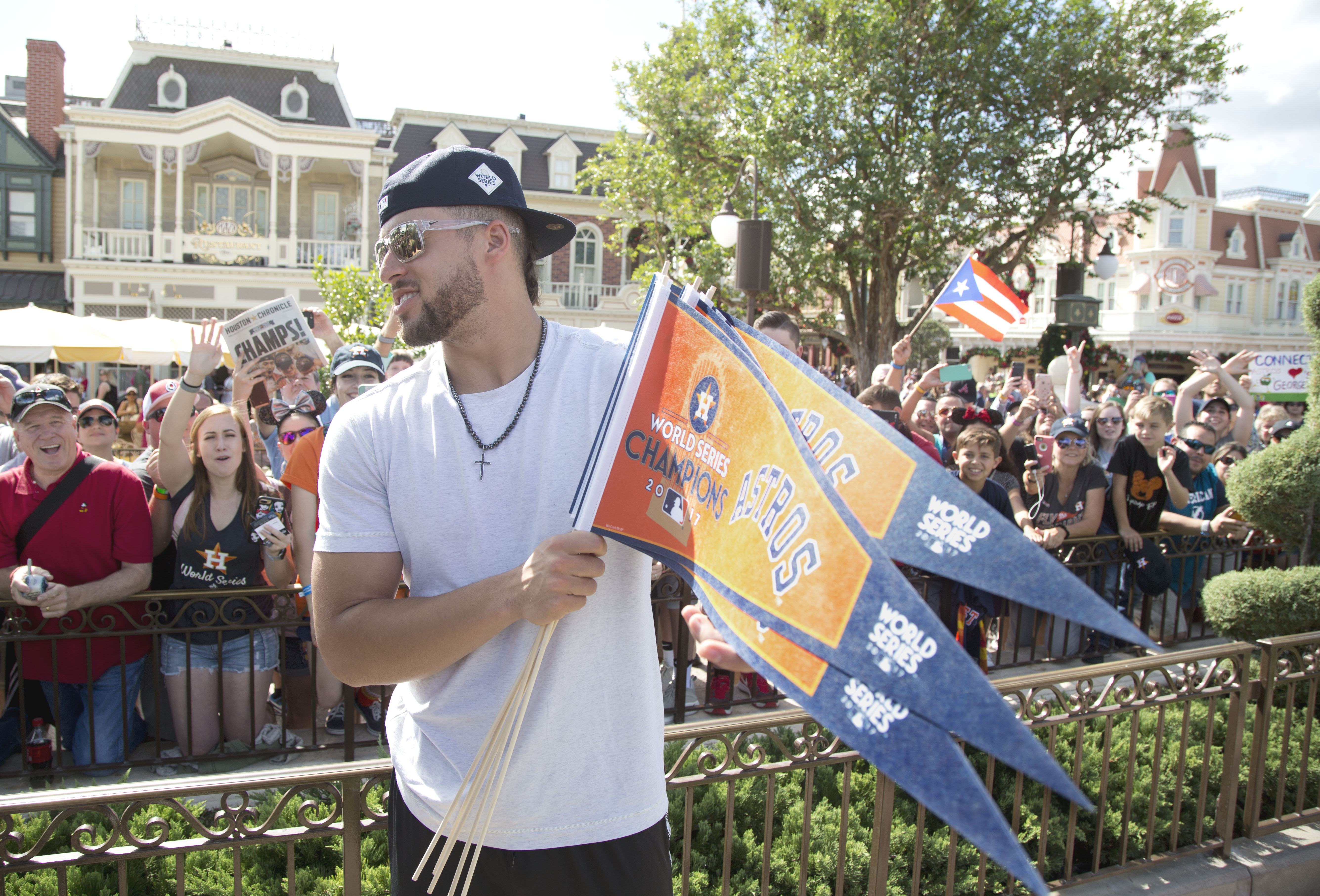 <div class='meta'><div class='origin-logo' data-origin='KTRK'></div><span class='caption-text' data-credit='Gregg Newton'>Houston Astros player and World Series MVP, George Springer, greets fans at Magic Kingdom Park in Lake Buena Vista, Fla., Saturday, Nov. 4, 2017.</span></div>