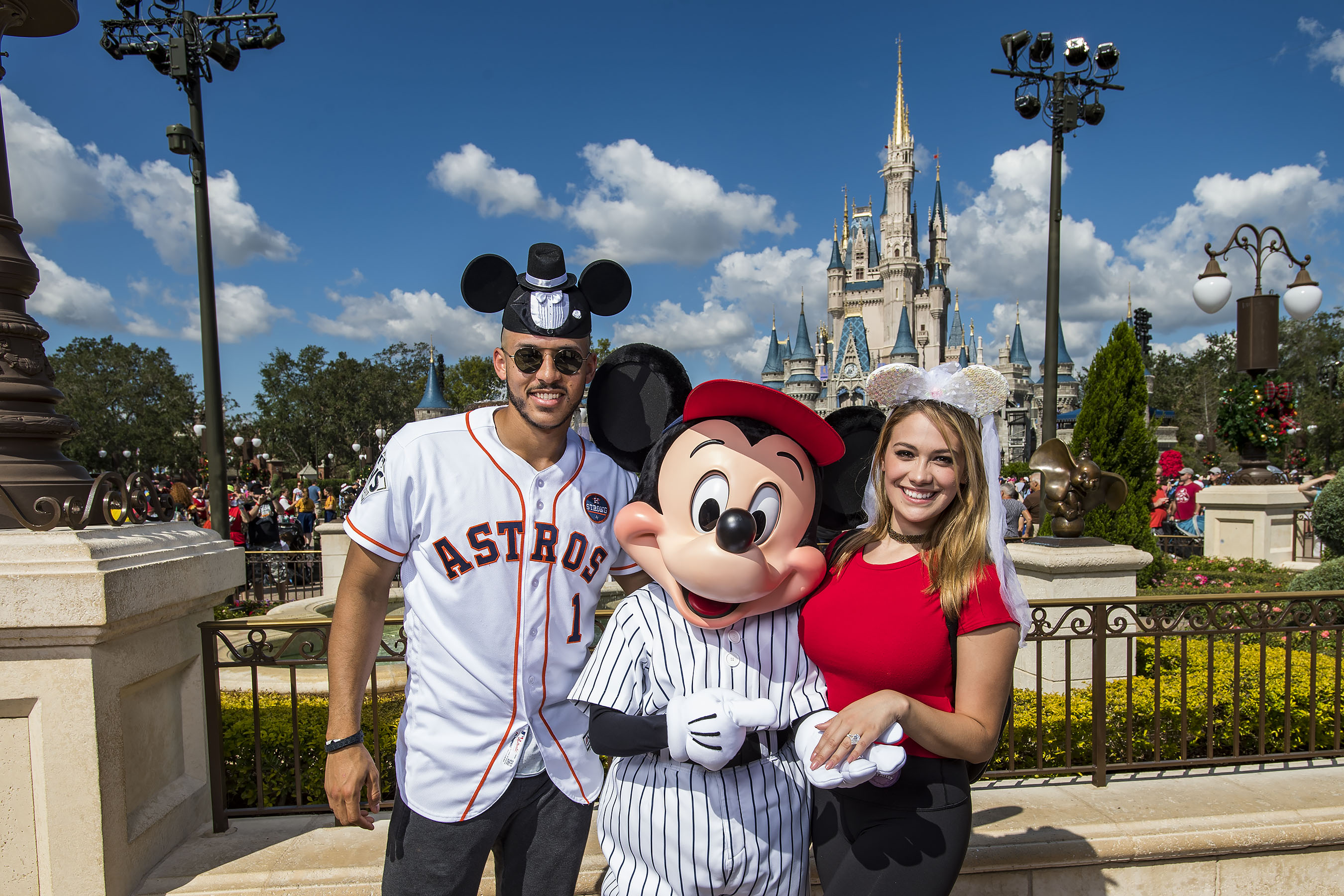 <div class='meta'><div class='origin-logo' data-origin='KTRK'></div><span class='caption-text' data-credit='Matt Stroshane'>Mickey Mouse welcomes newly engaged Houston Astros All-Star Carlos Correa and his fiancŽe Daniella Rodriguez to Walt Disney World Resort.</span></div>
