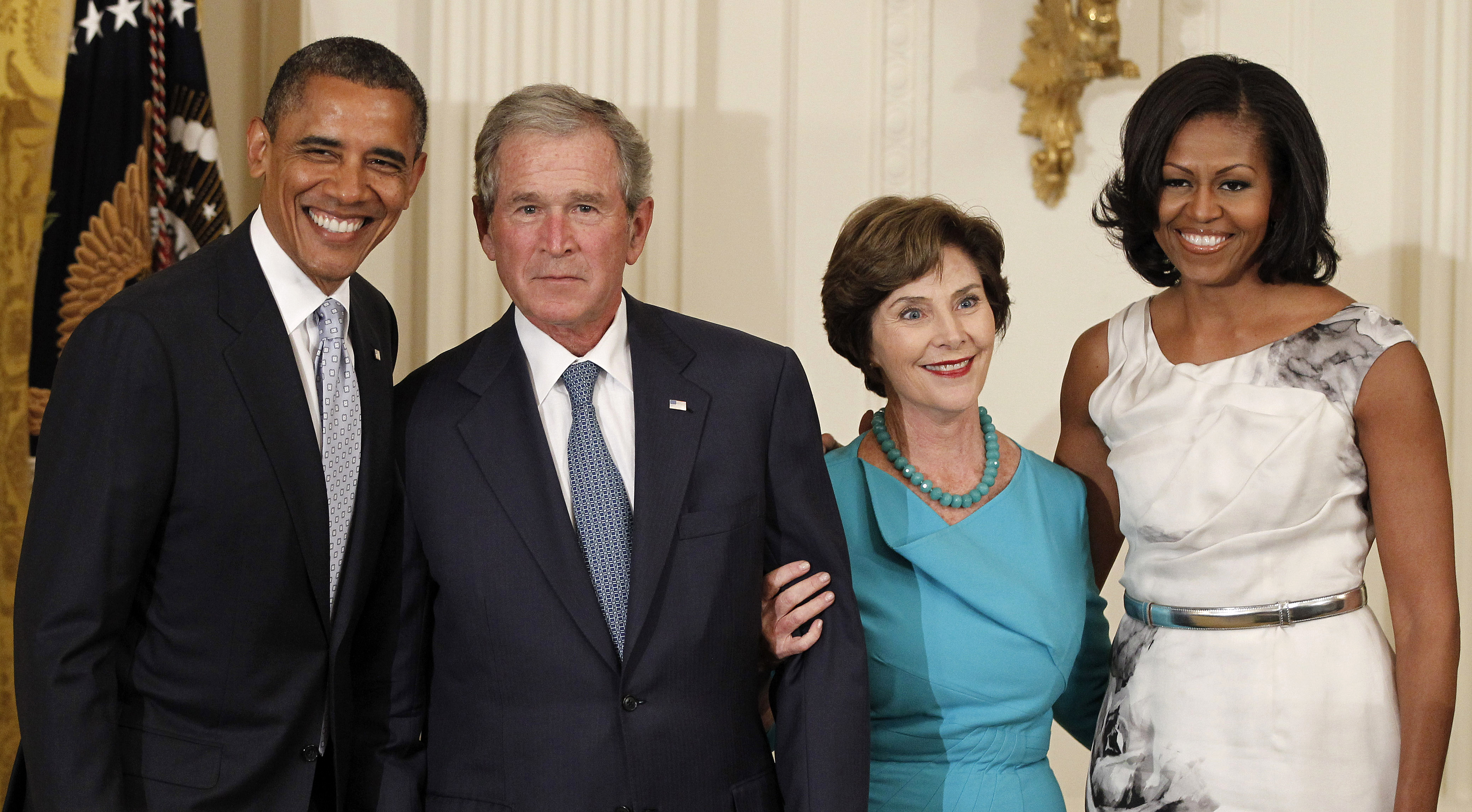 <div class='meta'><div class='origin-logo' data-origin='none'></div><span class='caption-text' data-credit='AP Photo/Pablo Martinez Monsivais'>From left, President Barack Obama, former President George W. Bush,Laura Bush and Michelle Obama, pose in the East Room of the White House in Washington, Thursday, May 31, 2012</span></div>
