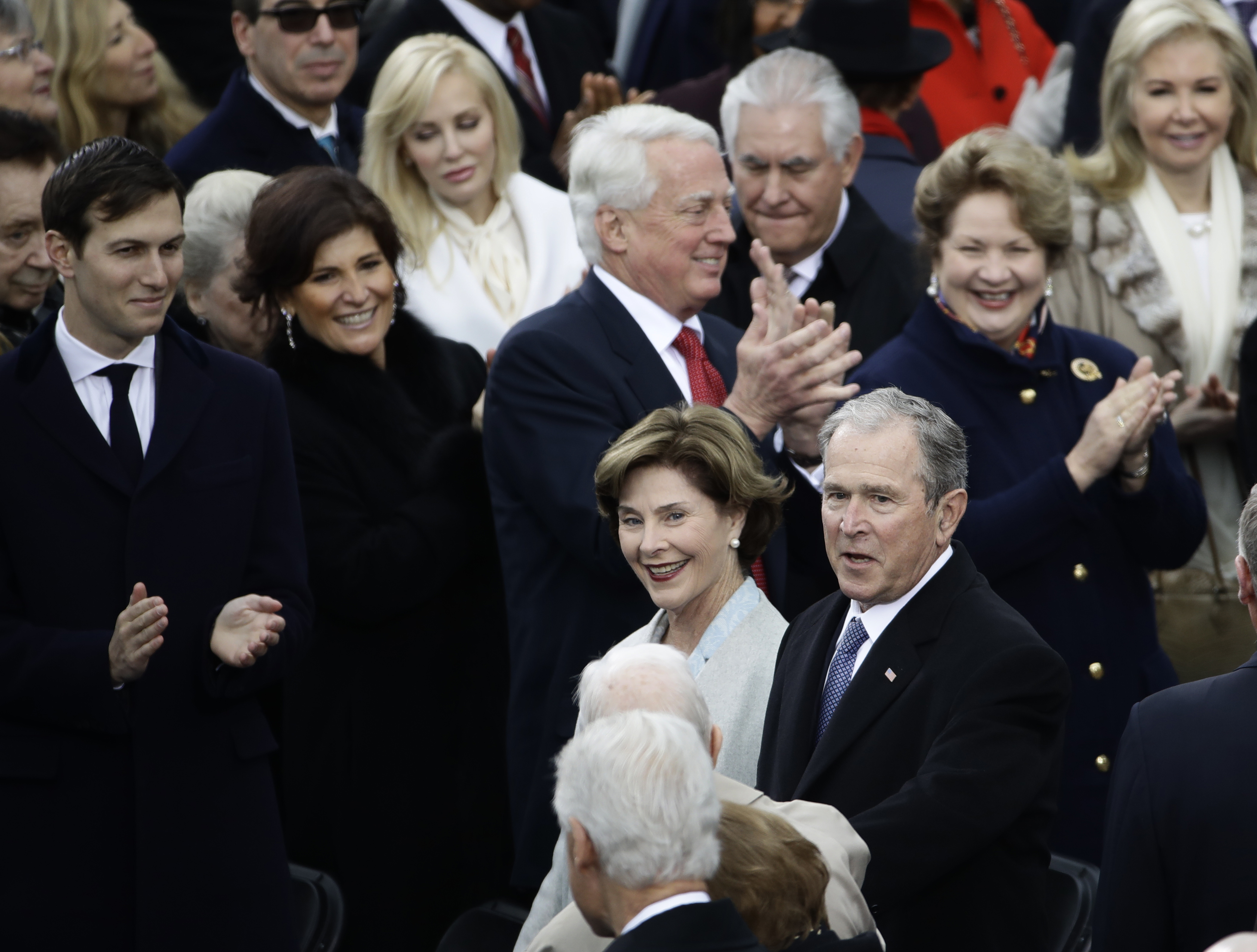 <div class='meta'><div class='origin-logo' data-origin='none'></div><span class='caption-text' data-credit='AP Photo/Matt Rourke'>Former President George W. Bush and his wife Laura arrive for the 58th Presidential Inauguration at the U.S. Capitol in Washington, Friday, Jan. 20, 2017.</span></div>