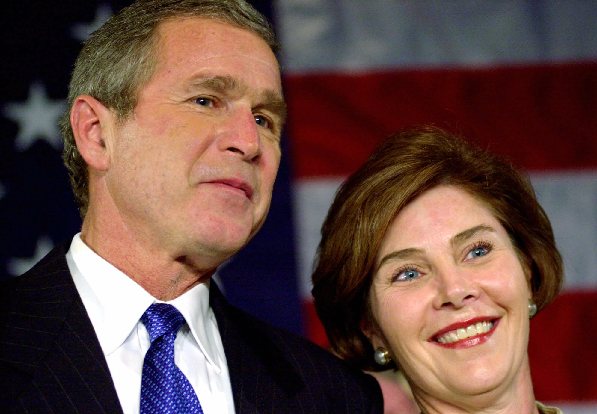 Entertaining message George w and laura bush
