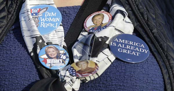 <div class='meta'><div class='origin-logo' data-origin='AP'></div><span class='caption-text' data-credit='AP Photo/Tony Dejak'>Campaign buttons for Hillary Clinton</span></div>