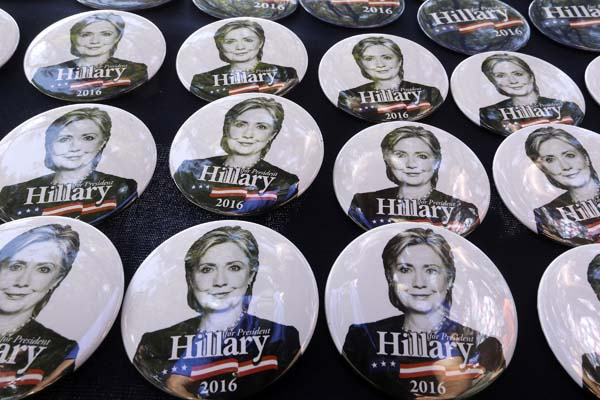 <div class='meta'><div class='origin-logo' data-origin='AP'></div><span class='caption-text' data-credit='AP Photo/Seth Perlman'>Democratic Presidential nominee Hillary Clinton campaign buttons</span></div>